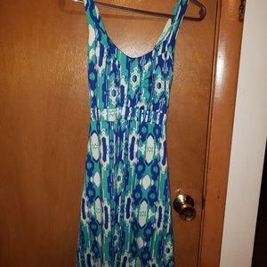 Blue and green print dress